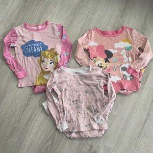 Disney Girls Pajama Sets Lot of 3 Size 6